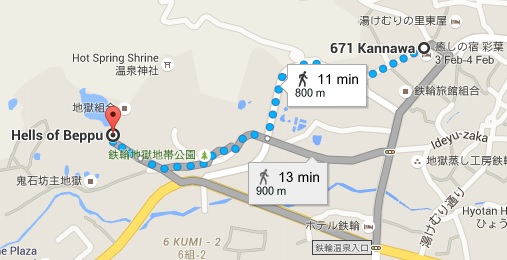 Map beppu hotel to hell