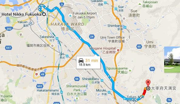 Map from Fukuoka to Dazaifu