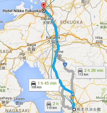 Map from Kumamoto to Fukuoka