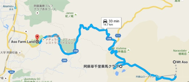 Map from Mt Aso to Horse Riding to Aso Farm