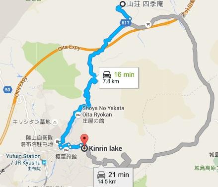 Map from Shikian to Kinrin lake