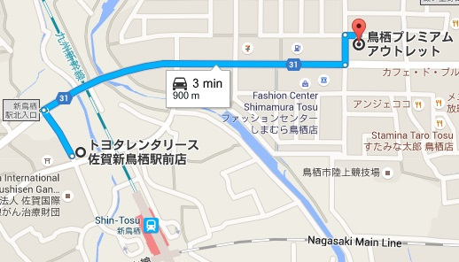 Map from ShinTosu to Tosu Premium Outlet