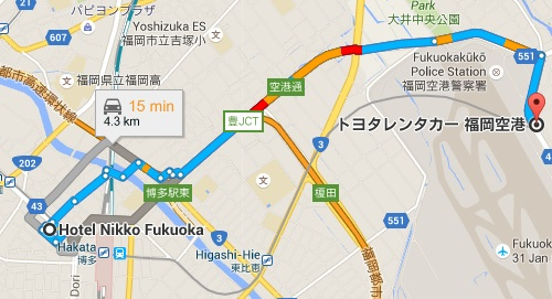 Map Hotel Nikko Fukuoka to Airport